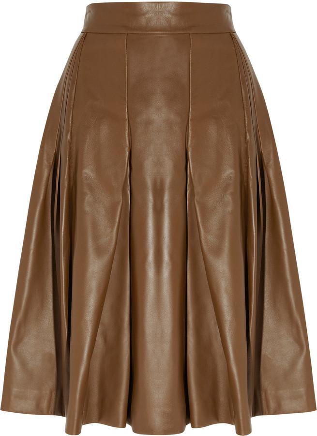 Yves Saint Laurent Leather A-line skirt