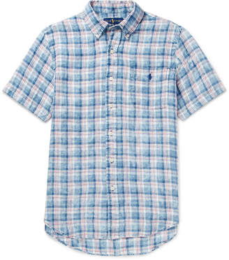 Polo Ralph Lauren Button-Down Collar Checked Linen Shirt
