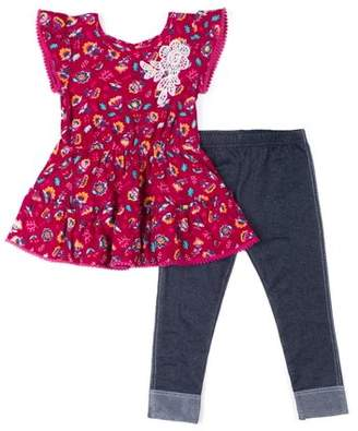 Little Lass Short Sleeve Yummy Knit Floral Tunic & Knit Denim Jeans, 2-Piece Outfit Set (Baby Girls & Toddler Girls)