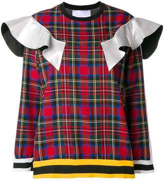 NO KA 'OI No Ka' Oi ruffle trim plaid sweatshirt