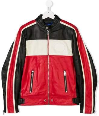 Diesel TEEN colour-block leather jacket
