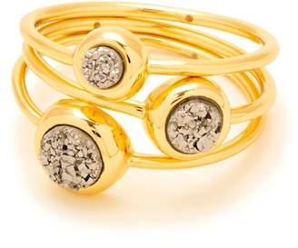 Gorjana Silver Druzy Astoria Ring - Set of 3 - Size 6