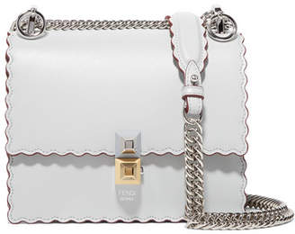 Fendi Kan I Mini Scalloped Leather Shoulder Bag - Light gray