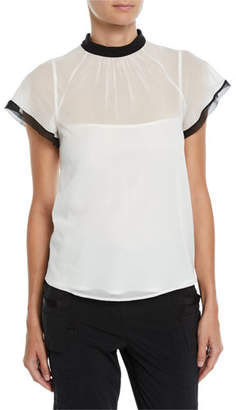 RED Valentino Contrast-Trim Back-Tie Sheer Top