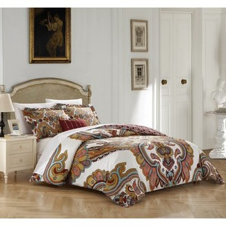 BEIGE Chic Home 4-Piece Sanskrit 100% Cotton 200 Thread Count Extra Large Panel Framed contemporary Boho Printed REVERSIBLE King Duvet Cover Set