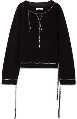 MM6 MAISON MARGIELA Sequin-embellished Wool-blend Bouclé Sweater - Black