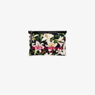 Dolce & Gabbana Green and pink embroidered logo floral clutch bag