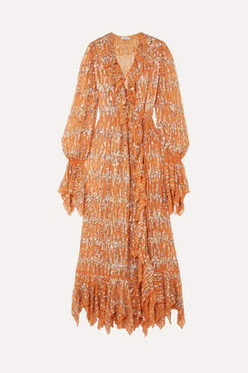 Ashish Ruffled Sequin-embellished Chiffon Wrap Maxi Dress - Beige