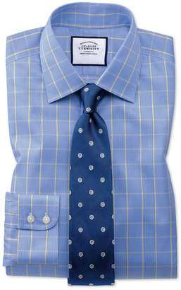 Charles Tyrwhitt Extra Slim Fit Non-Iron Prince Of Wales Blue and Gold Cotton Formal Shirt Double Cuff Size 14.5/33