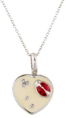 Aaron Basha 18K Diamond Ladybug Heart Pendant Necklace