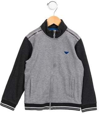 Armani Junior Boys' Knit Zip-Up Sweatshirt