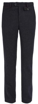 Oliver Spencer Fishtail Houndstooth Lambswool Trousers - Mens - Navy