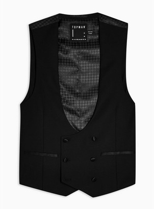 Topman Mens Black Double Breasted Suit Waistcoat
