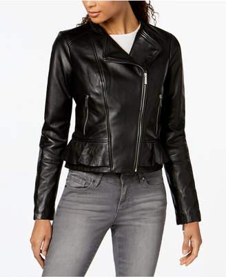 Michael Kors Leather Ruffle-Waist Moto Jacket