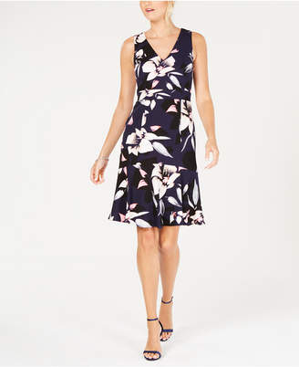 Vince Camuto Floral Printed A-Line Dress