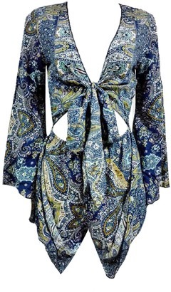 Goodnight Macaroon 'Yogis' Bohemian Print Tied Front Romper (2 Colors)