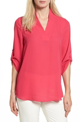 Women's Chaus Trapunto Stitch Roll Sleeve Blouse $69 thestylecure.com