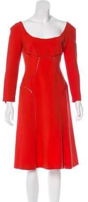 Alberta Ferretti Mesh-Accented Midi Dress