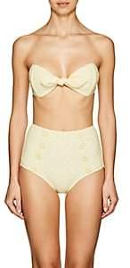 Lisa Marie Fernandez Women's Poppy Seersucker High-Waist Bikini - Yellow
