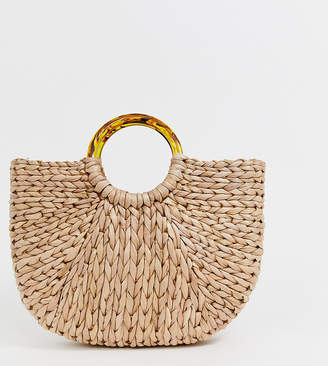 South Beach Exclusive half moon straw bag with tortoiseshell handle