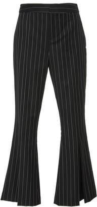Frame Pinstriped Wool-Blend Cropped Pants