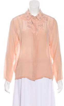 Opening Ceremony Pointed Collar Long Sleeve Top