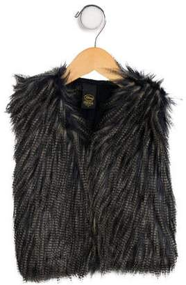 Imoga Girls' Faux Fur-Accented Wool-Blend Vest