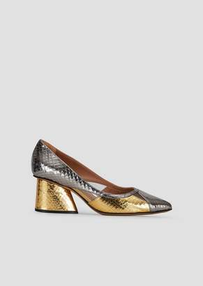 Emporio Armani Pumps In Python-Print Leather With Two-Tone Metallic Effect