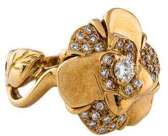 Chanel 18K Diamond Camelia Ring