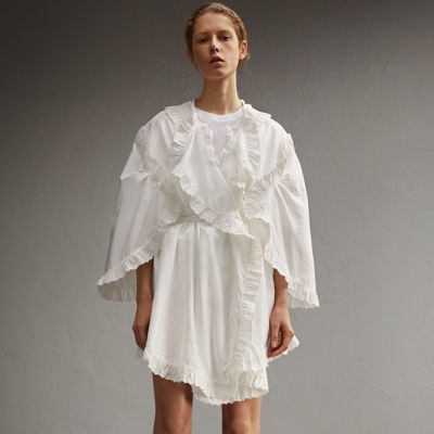 Burberry Burberry Broderie Anglaise Ruffle Cotton Dress