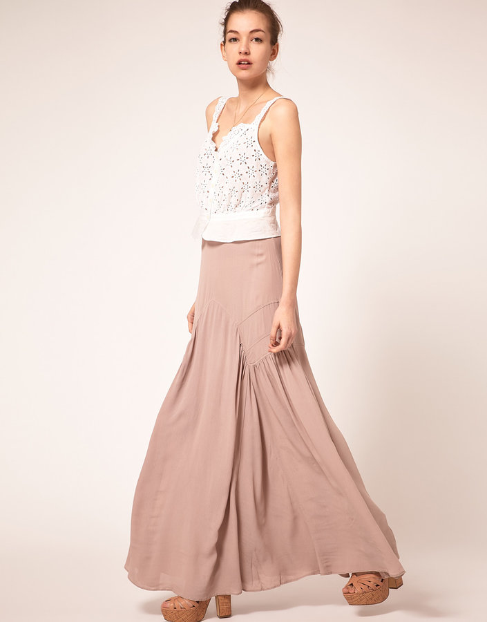 ASOS Seamed Maxi Skirt in Crinkle