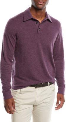 Neiman Marcus Men's Cashmere Long-Sleeve Polo Sweater