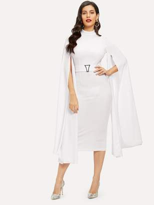 Shein Exaggerated Cape Sleeve Form Fitting Dress