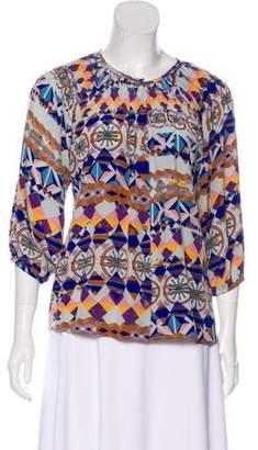 Tucker Printed Silk Blouse