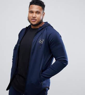 SikSilk zip thru hoodie in navy exclusive to ASOS