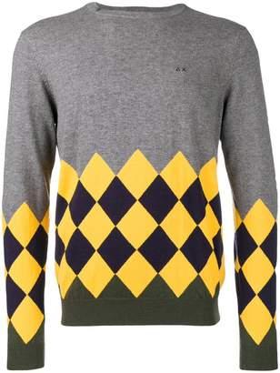 Sun 68 argyle instarsia sweater