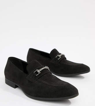 Asos Design DESIGN Wide Fit vegan friendly loafers in black faux suede with snaffle detail