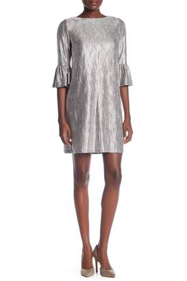 London Times Sequin Print Bell Sleeve Shift Dress