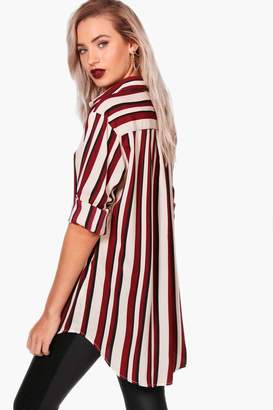 boohoo Striped Oversized Blouse