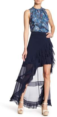 Alice + Olivia Lavera Asymmetrical Ruffled Maxi Skirt