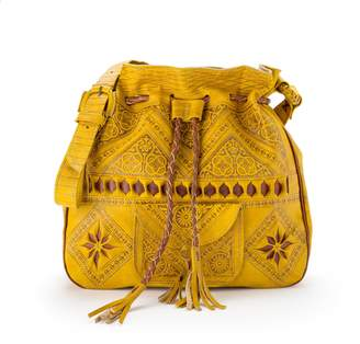 Wanderlust Snazzy London Engraved Mustard Yellow Leather Shoulder Bag