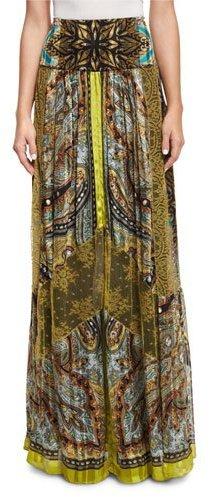 EtroEtro Paisley Stud-Print Maxi Skirt, Citrine