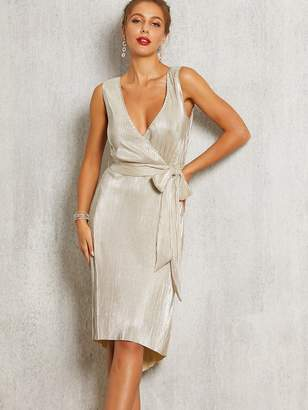Shein SBetro Wrap Front Belted Pleated Metallic High Low Dress