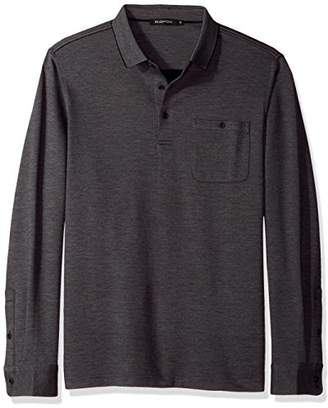 Bugatchi Men's Long Sleeve Classic Fit Solid Polo Collar Knit Shirt
