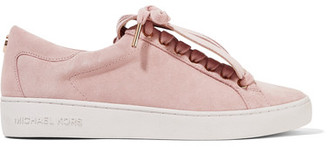 MICHAEL Michael Kors - Keaton Fringed Suede Sneakers - Baby pink $135 thestylecure.com
