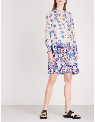Sandro Dropped waist all-over print silk dress