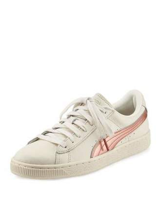 Puma Basket Classic Metallic Low-Top Sneaker, Whisper White/Copper $75 thestylecure.com