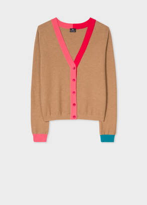 Paul Smith Women's Camel Wool-Cotton Cardigan With Contrast Trims