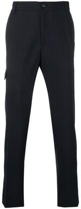 Versace tapered pinstriped trousers
