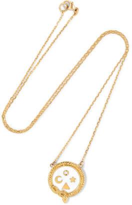Foundrae - Wholeness 18-karat Gold, Diamond And Enamel Necklace